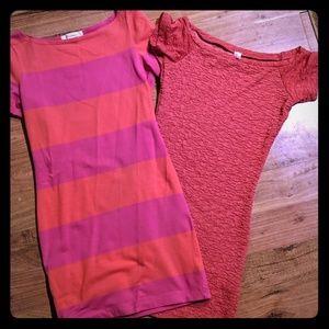 Pink orange salmon Tunic off shouler top dress